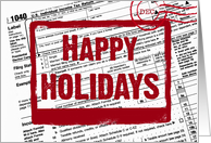 Happy Holidays postmark on income tax form card