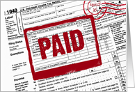 Red paid stamp on a 1040 income tax form card