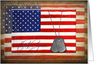 Thank You-Military dog tags on American flag card