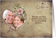 Vow Renewal invitation- vintage postcard photo card with ribbon heart card
