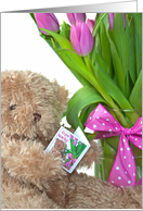 Name Day-teddy bear with pink tulip bouquet card