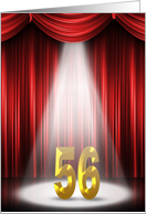 56th Anniversary in the spotlight and red curtains card