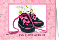 Baby Girl personalize announcement-daisy bouquet in sneakers card
