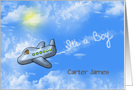 Baby Boy birth announcement-teddy bear in an airplane with smoke card