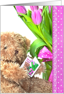 Birthday for Friend - teddy bear with pink tulip bouquet card
