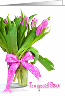 Sister's Birthday - tulip bouquet with polka dot bow card