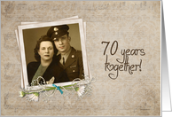 70th Anniversary - photo card with daisy bouquet on vintage background card