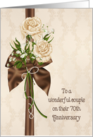 70th Wedding Anniversary - rose bouquet on damask card