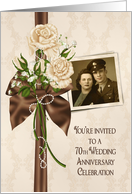 70th Anniversary party photo card invitation with ivory rose bouquet card