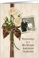 60th Anniversary party photo card invitation with ivory rose bouquet card
