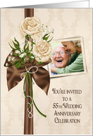 55th Anniversary party photo card invitation with ivory rose bouquet card