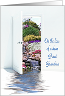 Loss of Great Grandma - open door with waterfalls in garden card