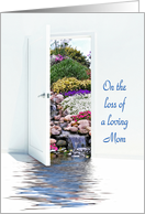 Loss of Mom- open door with waterfalls in garden card