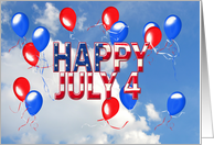 4th of July Party invitation - red and blue balloons floating in sky card