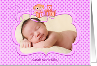Baby Girl Announcement photo card - pink polka dots with doll card