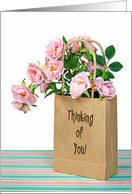 Thinking of You for sister - pink roses in brown paper bag card