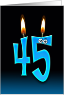 45th Birthday Party invitation with candles and eyeballs card