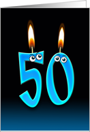 50th Birthday Party invitation with candles and eyeballs card