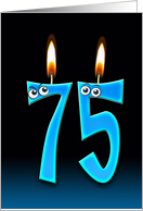75th Birthday humor with candles and eyeballs card