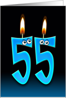 55th Birthday humor with candles and eyeballs card
