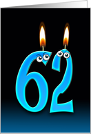 62nd Birthday humor with candles and eyeballs card