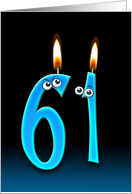 61st Birthday humor with candles and eyeballs card