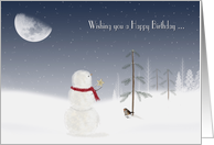 Birthday at Christmas time - snowman with gold star and moon card