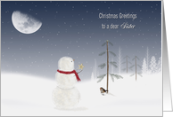 Sister's Christmas - snowman with gold star and moon card