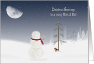 Mom and Dad's Christmas - snowman with gold star and moon card