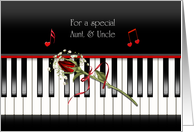 aunt and uncle's anniversary ... red rose on piano keys card