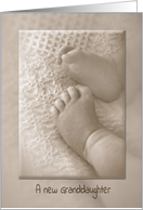 New Granddaughter congratulations-baby feet in sepia tone card