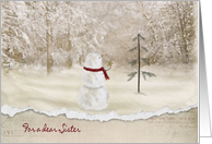 Christmas for Sister-snowman with gold star card
