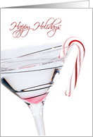 Happy Holidays cocktail with candy cane on white card