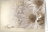 56th Wedding Anniversary-daisy bouquet in sepia tone and texture card