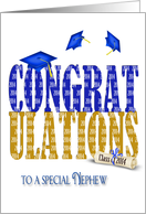 Nephew-Graduation 2014 in blue and gold on white with blue hats card