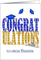 Daughter's Graduation 2014 in blue and gold with blue hats and diploma card