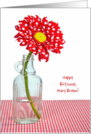 Name Specific Birthday-red and white polka dot daisy in vintage bottle card