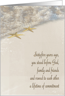 65th Wedding Anniversary for couple-starfish in ocean surf card