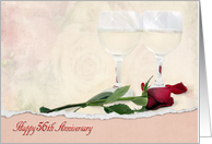 56th Anniversary for Couple with red rose and wine glasses card