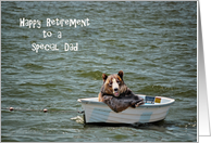 Dad Retirement congratulations-smiling bear in dinghy card