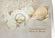 wedding congratulations-Name Specific with rings in seashell in sand card