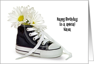 Nana's Birthday-daisy bouquet in a black and white sneaker card