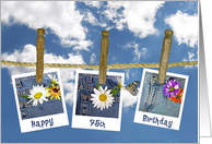 75th Birthday-daisy in jean pocket and butterfly photos on clothesline card
