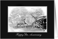 56th Wedding Anniversary-rose and pearls on champagne bottle card