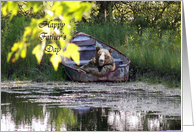 Father's Day - bear in a rusty row boat card