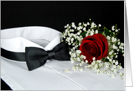 Formal Party invitation-red rose on tuxedo shirt with black bow tie card