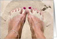 Thinking of you- barefoot in beach sand card