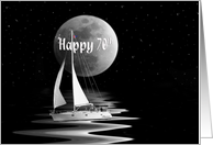 70th birthday with sailboat and full moon card