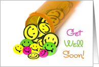 Get well soon smiling pills spilling out of bottle card