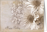 Birthday daisy bouquet in sepia card